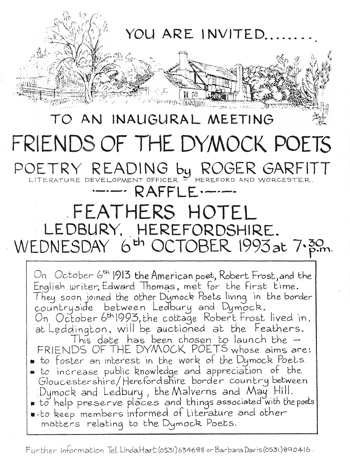 Poster for the inaugural meeting of the Friends of the Dymock Poets